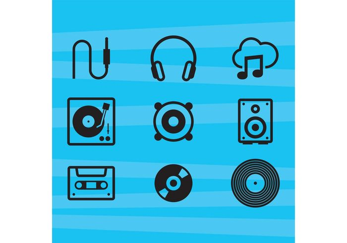 technology streaming stereo speaker sound record play musical note musical music note music microphone mic media loudspeaker Listening isolated instruments icons headphone DJ disk disc jockey disc cassette tape