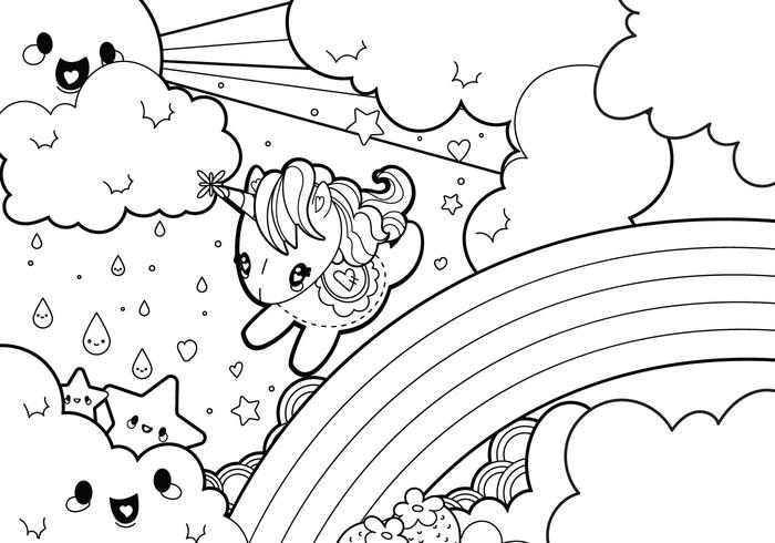 Rainy Rainbow Unicorn Scene Coloring Page - WeLoveSoLo
