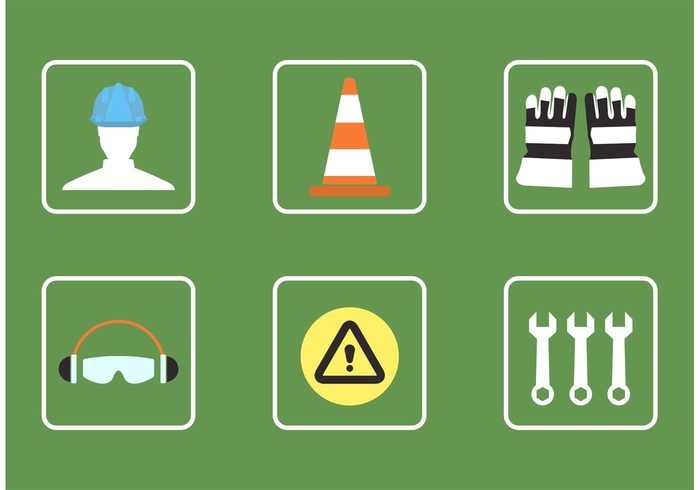 wrench work warning tools tool technology symbol signal sign safety protection orange cone orange object isolated icon helmet headphones hat hand hammer gloves glasses equipment Ear construction cone business