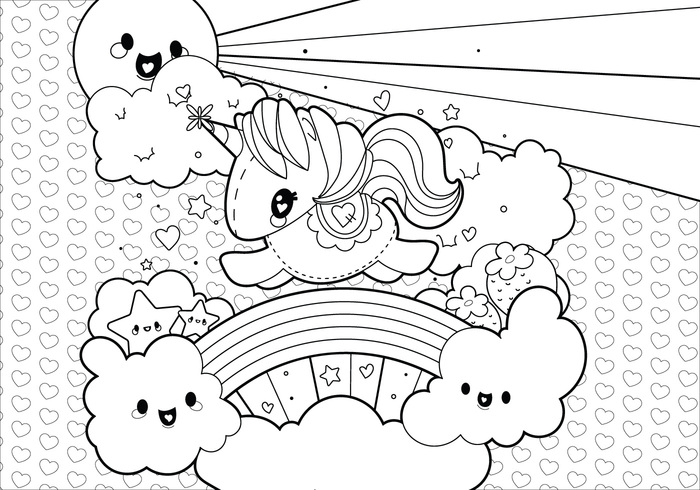 coloring pages unicorns rainbows flowers - photo#9