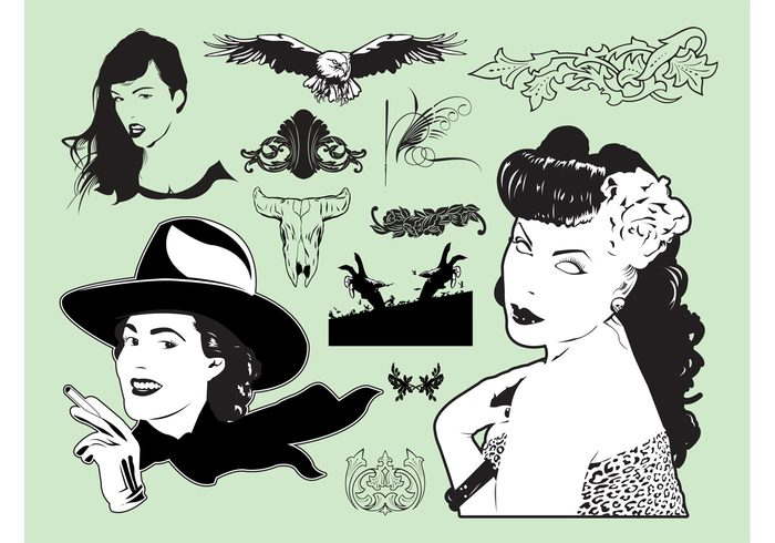 zombie women woman western vintage tattoos sexy pinup girls flowers eagle cowgirl cigarette animal skull american