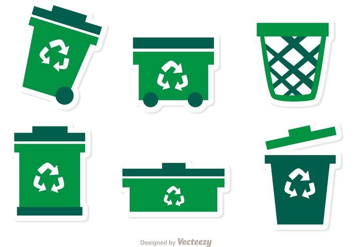 trash can trash bin trash rubbish can rubbish bin rubbish bag rubbish recycling junk Isolated On White green garbage eco bag