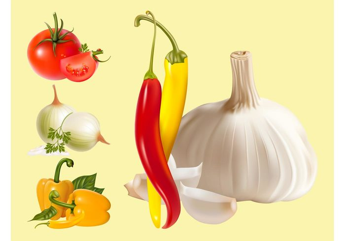 vitamins vegetables tomatoes tomato pepper parsley onion Healthy garlic food eat Chilly peppers Bell peppers