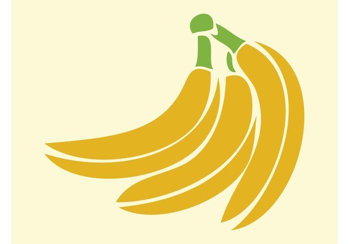 vitamins sticker Stems nature logo icon Healthy Hand of bananas fruits food eat Diet decal comic cluster cartoon bananas Banana vector
