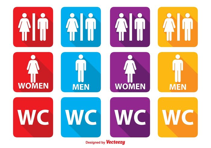 women wc icons wc washroom vector toilet symbol sign Sanitary room restroom icons Restroom rest room public point pictogram people men male long shadow lavatory lady label illustration icons icon girl Gentleman gender flat female family entrance enter boy bathroom