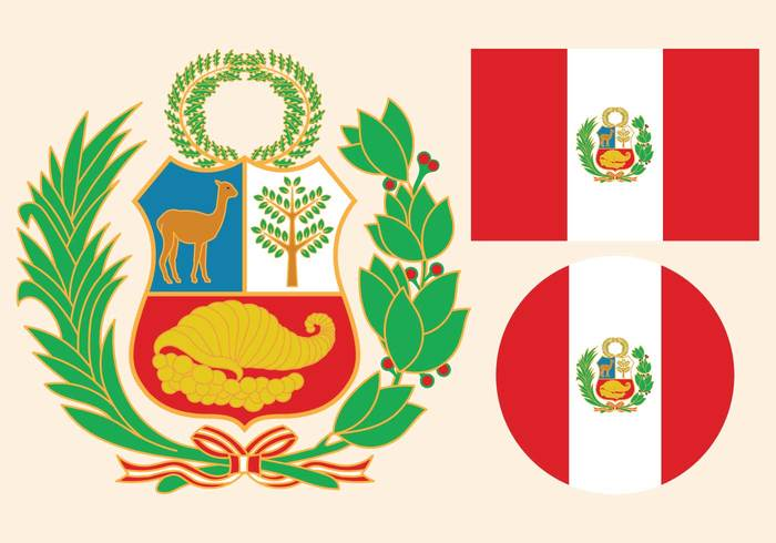 wreath white vertical vector symbol stripes state standard sign shield set round Peruvian peru flag peru Patriotism patriotic palm official nationality national nation laurel label isolated illustration identity icon heraldic graphic flat flag ensign emblem Destination design country circle branches banner background attribute arms