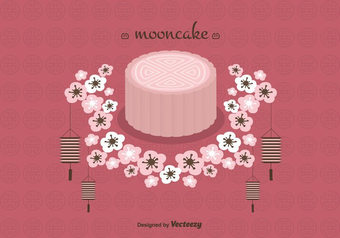vector traditional sweet restaurant mooncake moon cake free food festive festival dessert chinese celebration cake bakery asia