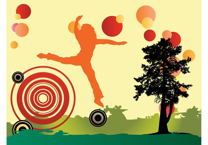 woman tree silhouette round nature jump happy happiness grass girl fields dots circles background