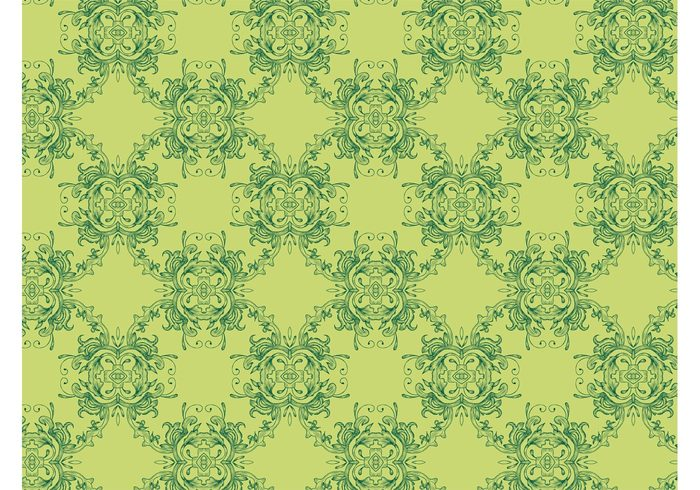 wallpaper vintage swirls Stems seamless pattern retro pattern leaves flowers floral flora background backdrop