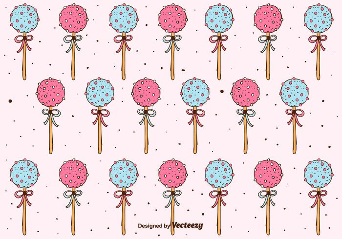 yummy vector Treat Topping sweet sugar stick sprinkles set ribbons Popsicle pops pink pattern hand drawn free food dessert delicious cute chocolate cake pops cake lollipop cake background