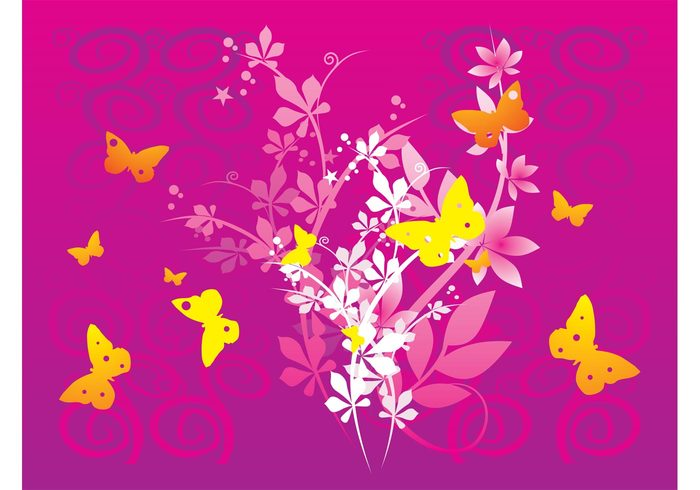 wallpaper swirls Stems spring spirals nature lines leaves insects butterfly butterflies background backdrop