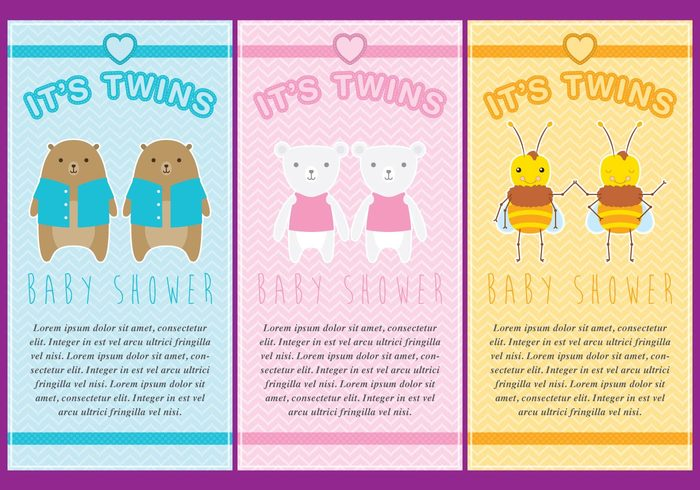 Twins twin babies Tender template striped shower pink pastel party newborn little layout invite invitation infant heart girl cute child character cartoon card bunny boy birthday birth baby arrival animal