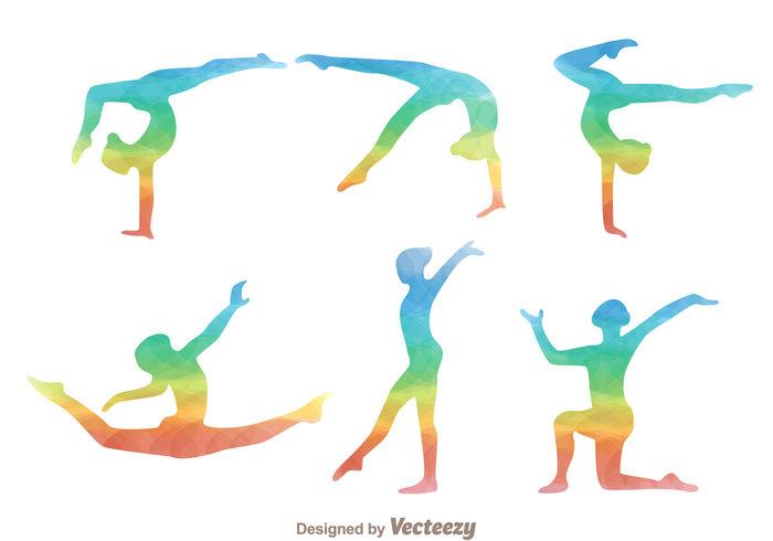 watercolor gymnast silhouette training sport sketch silhouette rainbow gymnast silhouette rainbow Move health gymnast silhouettes gymnast silhouette gymnast exercise cartoon body aerobic activity