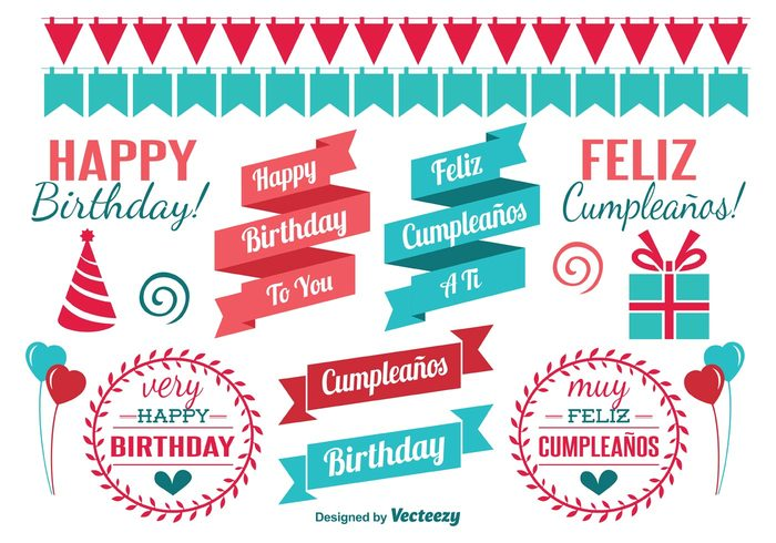 vector surprise shape scrapbook red present party kid invitation happy birthday happy graphic girl gift fun feliz cumpleaños event element decoration cumpleaños color cheerful celebration celebrate card boy blue birthday vectors Birthday vector birthday elements birthday banner