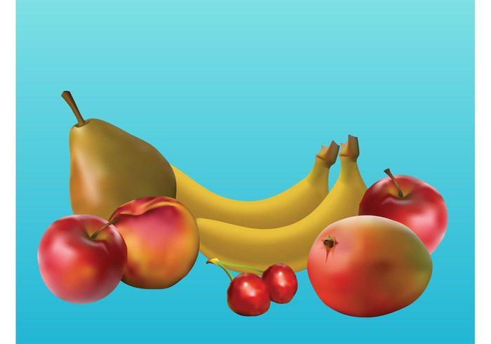 Tasty pear peach mango lifestyle Healthy fruits fruit fresh food eating cherry cherries banana apple