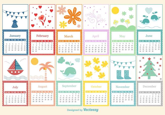 year winter vintage template summer spring season schedule reminder planner pattern page organizer month memo kids illustration holiday happy funny fun draw cute colorful color collection cartoon card calender calendar business background baby autumn animal 2016 2015