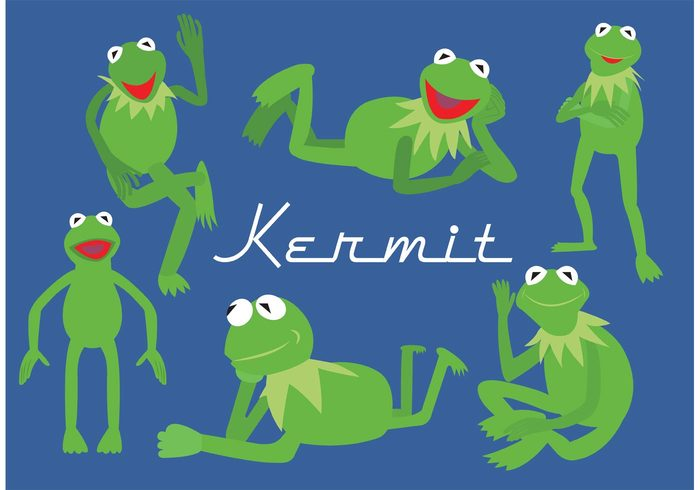 vector illustration vector typography toy Tongue Toad swim reptile puppet nice nature kermit the frog kermit jump isolated illustration happy green funny frog drawing different positions cute comic color closeup character cartoon Aquatic animal amphibian