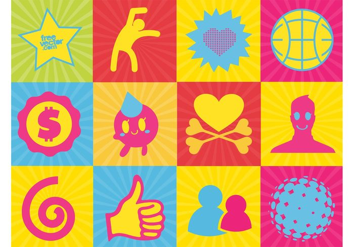 starburst star smiley person man like icon heart Facebook dollar character cartoon button bones badge active