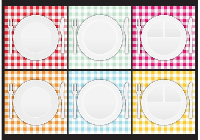 Textile tablecloth table striped retro restaurant picnic paper plate material lunch knife kitchen fork food flat empty dish dining Cuisine cooking clean checkered checked breakfast blade