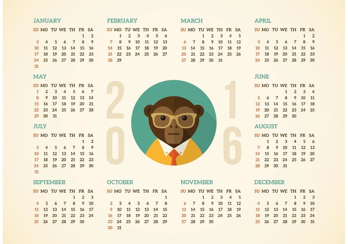 year weekly week vertical vector time template September seasonal season planner plan organizer October number November monthly month monkey May March light june July January illustration hipster grid graphic february diary design December day date daily calender calendar 2016 calendar business background autumn August April animal 2016
