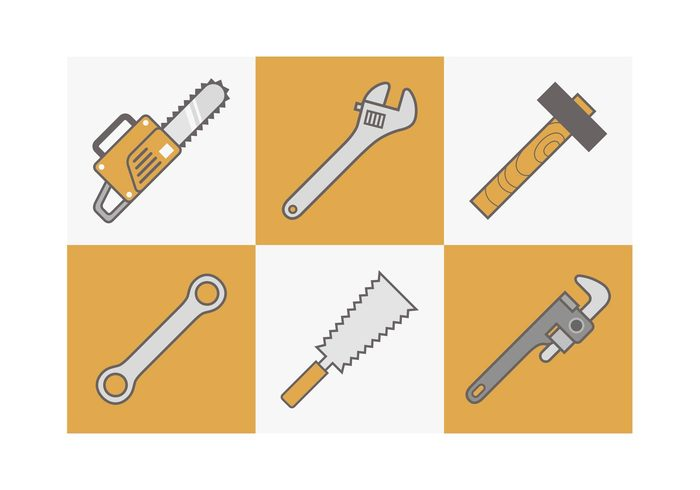 wrench work vector tool technology symbol saw rotary repair mechanical mechanic jigsaw instrument industry industrial icon Handy hammer grip fix equipment construction Construct collection circular chainsaw