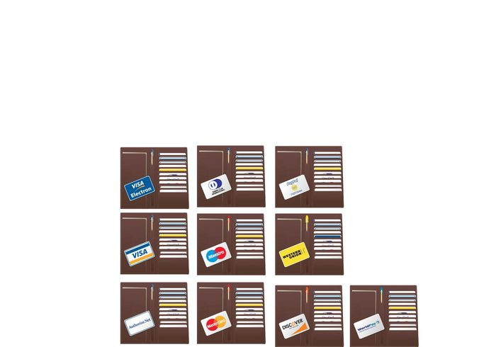 Western union wallets Visa set realistic paypal pack money mastercard Maestro logo finance economy credit cards collection business