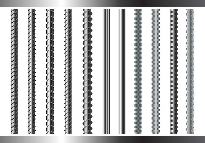 technology strong strenght steel stainless smooth secondary rough rebars rebar primary periodic pattern metallic metal material isolated iron industri illustration icon gray Endless Diameter carbon building