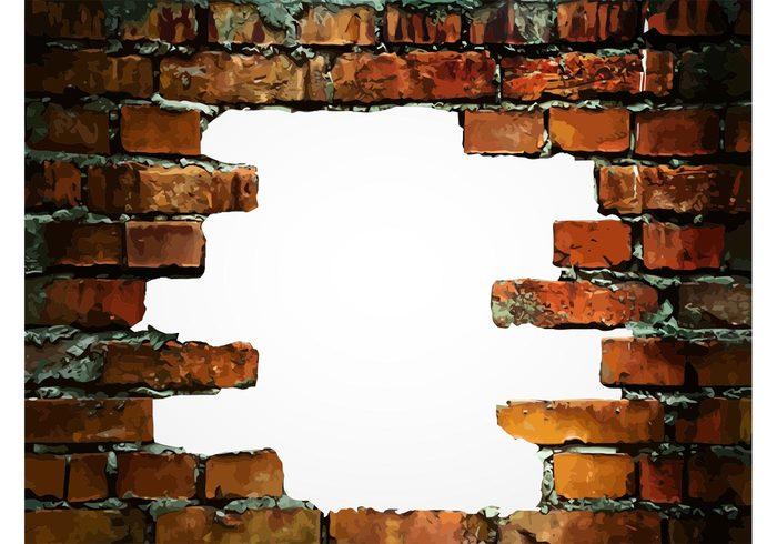 weathered tiles realistic Plaster Mortar house home hole frame destruction Damages construction cement building bricks Backgrounds