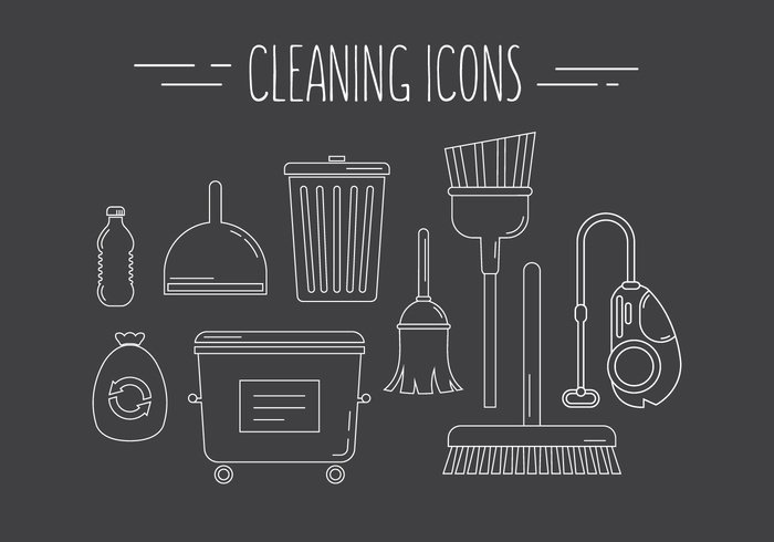 yuk white outline washing vacuum cleaner vacuum typography trash thin line symbol style recycling mop liquid icons Housework household hoover grey background dustpan duster Dumpster design cleaning icons cleaning clean bucket brush broom bottle