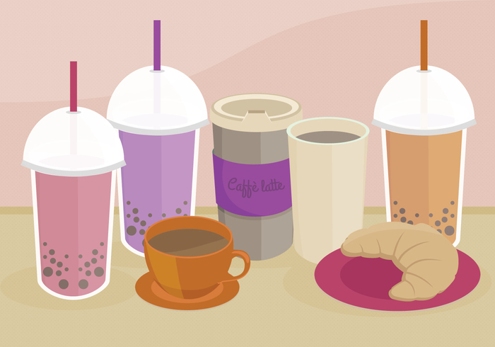 treats Treat sweets straw objects latte isolated illustration food illustration food fast food drinks drink cup of coffee croissant coffee cappuccino cafe bubble tea