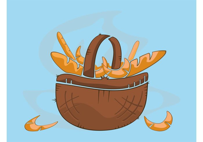 warm steam pastry hot Gift basket Food vector food eat croissant Bread vector bread basket baking bakery Baguettes