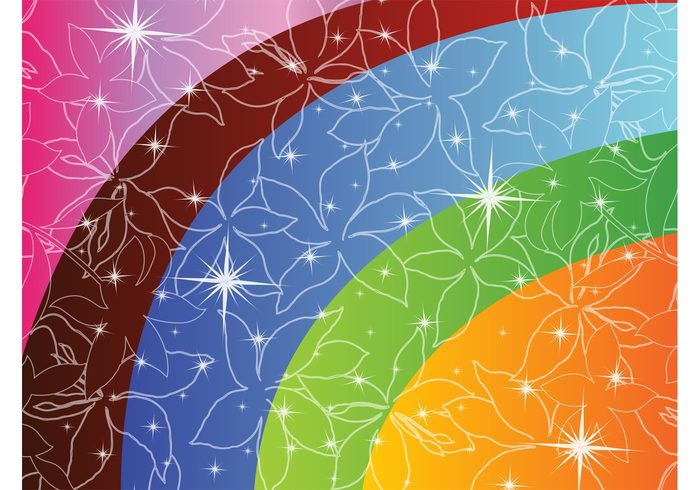 stars shapes rainbow radiant nature greeting card gradient flowers floral decoration colorful abstract