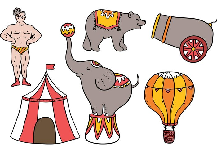 vintage circus vintage tent strong man retro circus performer man Hot air balloon funny fair elephant circus tent circus man circus elephant Circus cartoon carnival bear animal