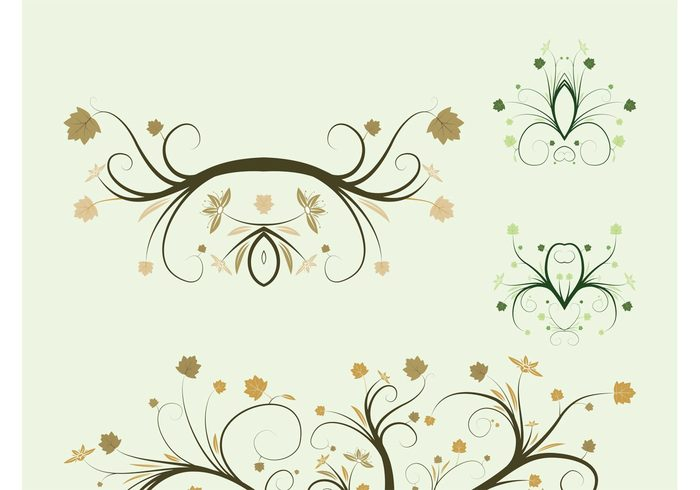 vector twigs swirls Stems spring plants plant nature leaves decorative decorations branches