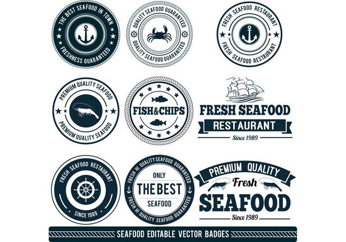 vector badges seafood logo seafood restaurant logo badge logo labels label food logo badges badge anchor badge