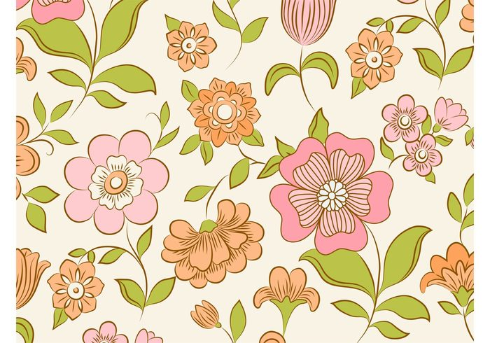 wallpaper vintage vector background Stems seamless plants petals pastel colors leaves fresh flowers floral blossom bloom