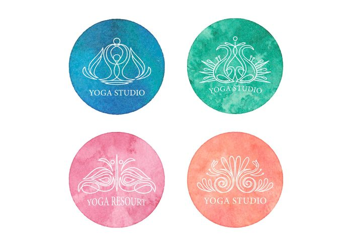 yoga wellness watercolor water vector texture template symbol style Studio stone sticker spiritual spa sign outline mudra monogram lotus logo linear line lifestyle letter label insignia icon Healthy hand graphic flat fitness finger emblem element drawing design decorative creative corporate contour concept company center brands of the world Balance