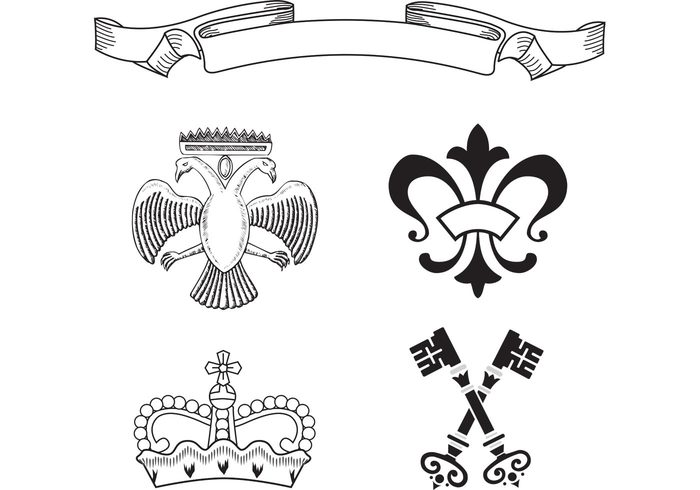 wing victorian royalty royal ornament king key illustration heraldry free premium design decoration crown classic baroque banner