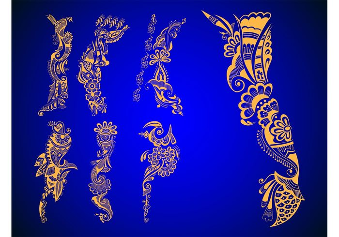 wedding traditional stickers shapes Rituals plants india Henna tattoos flowers floral decorations decals abstract