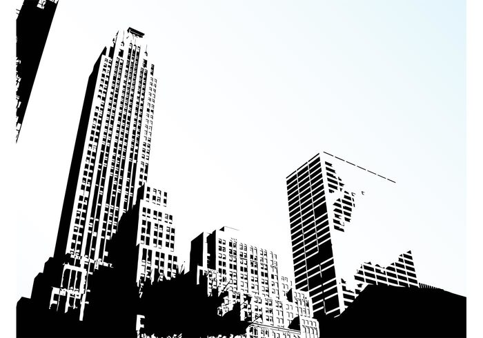 Windows urban trees skyscrapers silhouettes NYC new york cityscape cities buildings background backdrop architecture