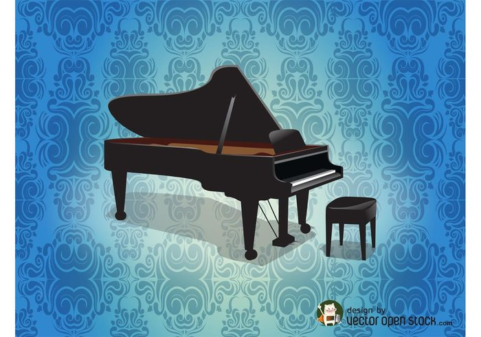 vintage realistic music keys grand piano damask concert chair background backdrop