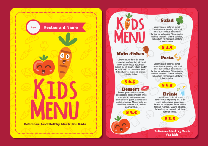 vegetables vector tomato template restaurant Place pattern pasta menu meal lunch kids menu kids illustration Healthy grill graphic fresh frame food eat drinks design cute cover cooking cook concept child cartoon carrot border beverages background