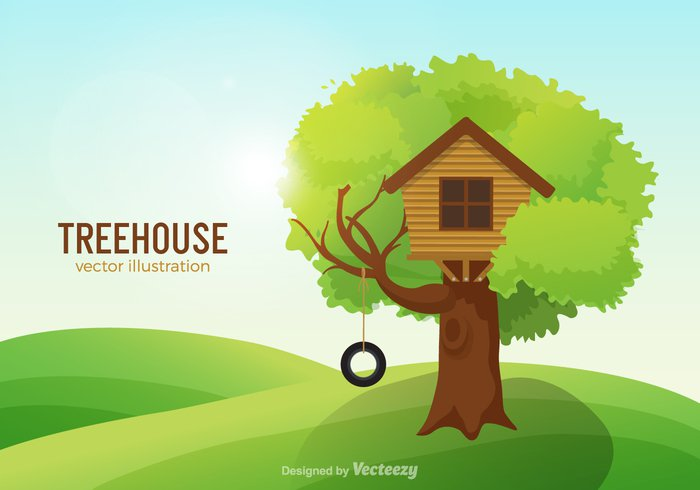 wood village vector treehouse tree swing summer structure spring small sky playhouse playground play park outside outdoors nature landscape kids isolated illustration house happy green graphic drawing design decoration cute country clubhouse club children childhood cartoon building background Adventure
