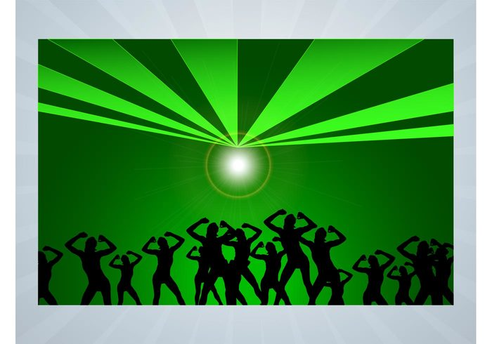 template starburst silhouettes rays poster people lines lights disco dancing dance crowd club background