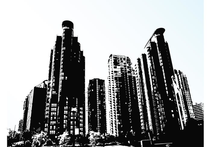 Windows wallpaper trees street skyscrapers skyline silhouettes cityscape city background backdrop architecture