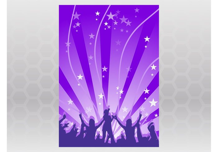 waves template stars starburst poster people party music festival DJ dancing dance crowd concert club background