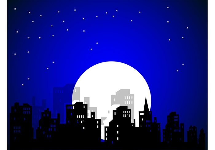 Windows urban stars skyline sky nighttime full moon comic cityscape buildings background architecture