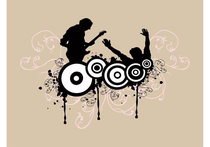 swirls splatter silhouettes player paint musician music guitarist guitar grunge flyer flowers electric guitar dance circles circle background