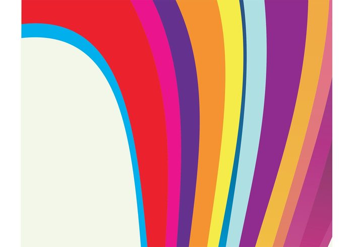 sixties seventies rounded retro rainbow curves cool colors colorful background backdrop 70's 60's