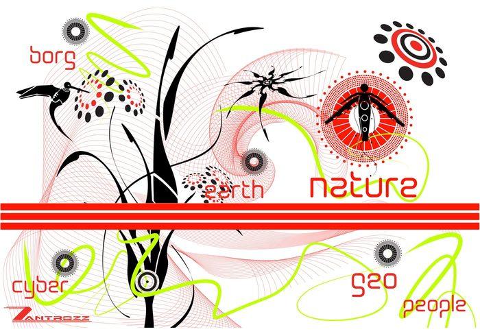 spiral shape people nature leaf hummingbird flower earth BORG bird
